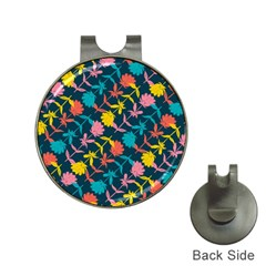 Colorful Floral Pattern Hat Clips with Golf Markers