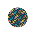 Colorful Floral Pattern Hat Clip Ball Marker (4 pack) Front