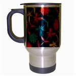 Colorful Floral Pattern Travel Mug (Silver Gray) Left