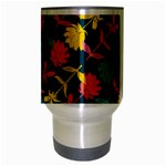 Colorful Floral Pattern Travel Mug (Silver Gray) Center