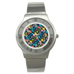 Colorful Floral Pattern Stainless Steel Watch Front