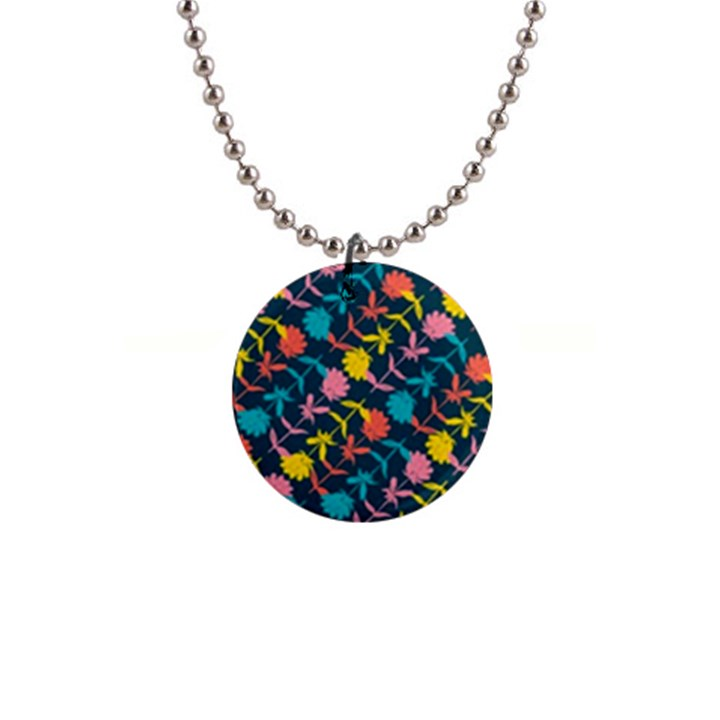 Colorful Floral Pattern Button Necklaces
