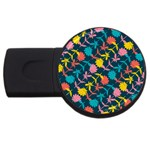Colorful Floral Pattern USB Flash Drive Round (4 GB)  Front