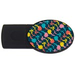 Colorful Floral Pattern USB Flash Drive Oval (4 GB)  Front