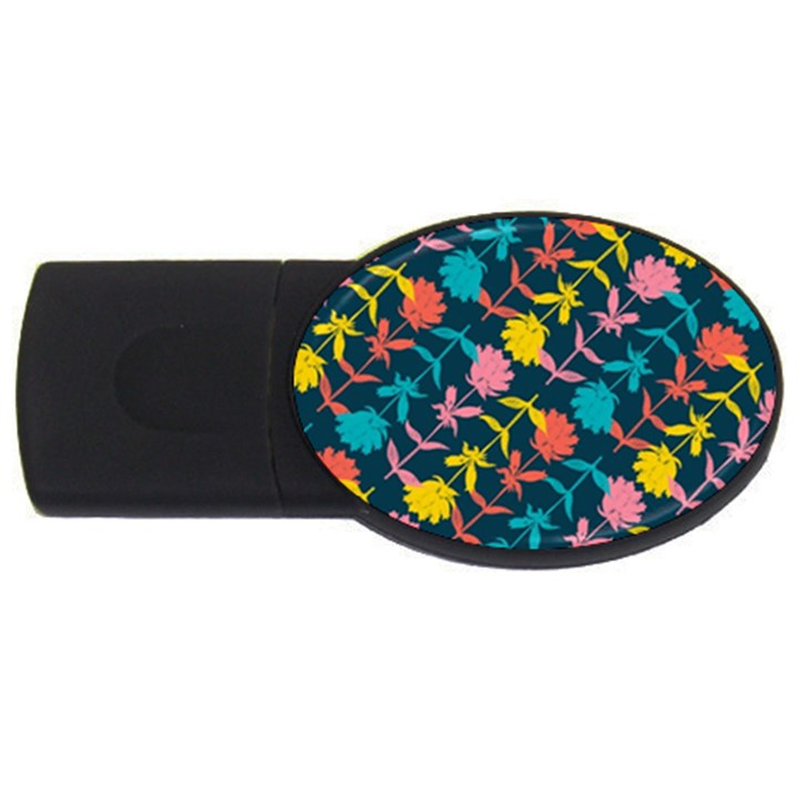 Colorful Floral Pattern USB Flash Drive Oval (4 GB)