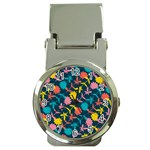 Colorful Floral Pattern Money Clip Watches Front