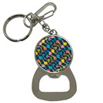 Colorful Floral Pattern Bottle Opener Key Chains Front