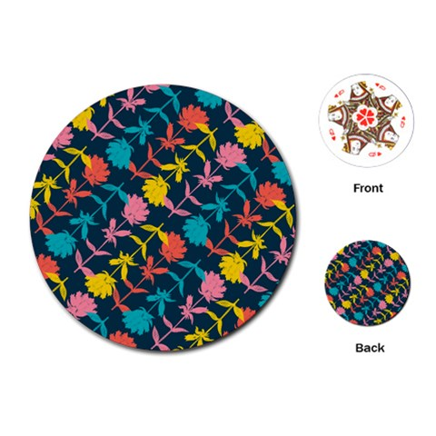 Colorful Floral Pattern Playing Cards (Round)