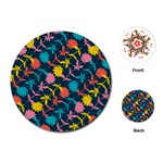 Colorful Floral Pattern Playing Cards (Round)  Front