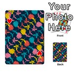 Colorful Floral Pattern Playing Cards 54 Designs  Front - Heart7