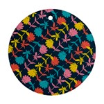 Colorful Floral Pattern Round Ornament (Two Sides)  Front