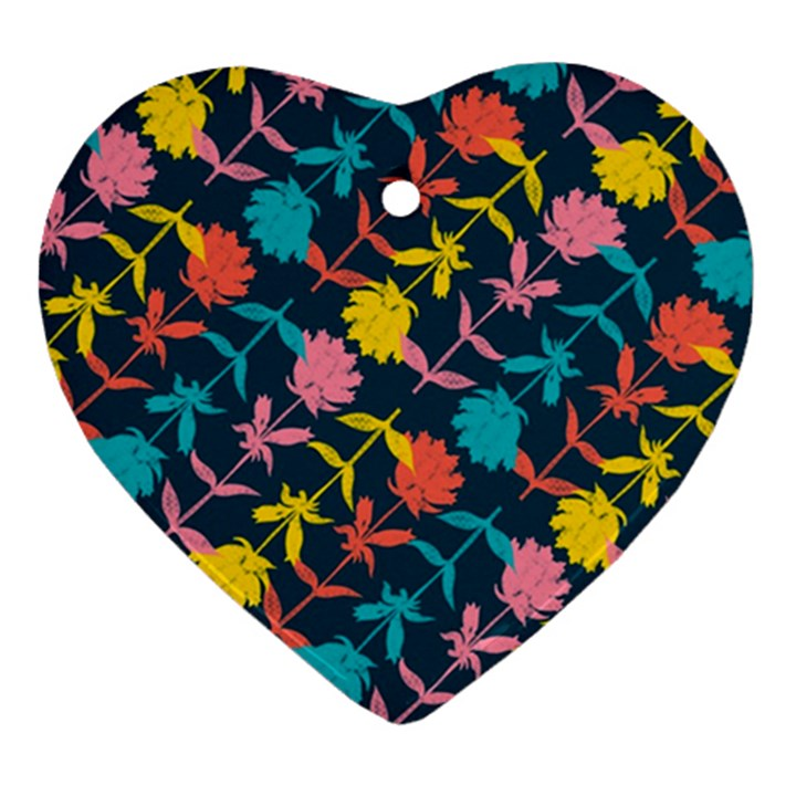 Colorful Floral Pattern Heart Ornament (2 Sides)