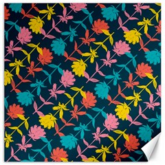 Colorful Floral Pattern Canvas 12  x 12