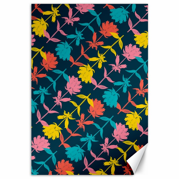 Colorful Floral Pattern Canvas 12  x 18