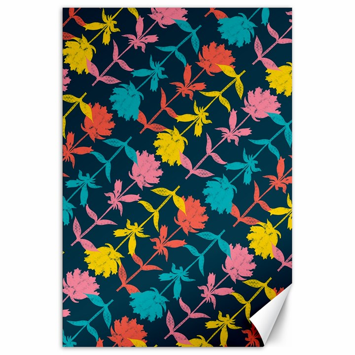 Colorful Floral Pattern Canvas 20  x 30