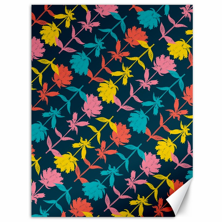 Colorful Floral Pattern Canvas 36  x 48