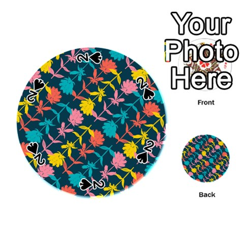 Colorful Floral Pattern Playing Cards 54 (Round)