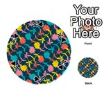 Colorful Floral Pattern Playing Cards 54 (Round)  Front - SpadeK