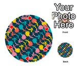 Colorful Floral Pattern Playing Cards 54 (Round)  Front - Heart9