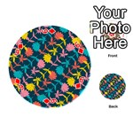 Colorful Floral Pattern Playing Cards 54 (Round)  Front - Diamond6