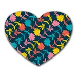 Colorful Floral Pattern Heart Mousepads Front