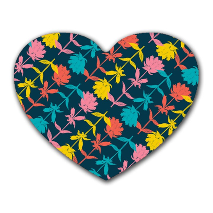 Colorful Floral Pattern Heart Mousepads