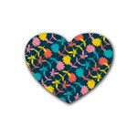 Colorful Floral Pattern Rubber Coaster (Heart)  Front