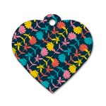 Colorful Floral Pattern Dog Tag Heart (One Side) Front