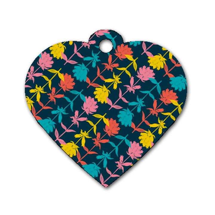 Colorful Floral Pattern Dog Tag Heart (Two Sides)