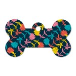 Colorful Floral Pattern Dog Tag Bone (One Side) Front