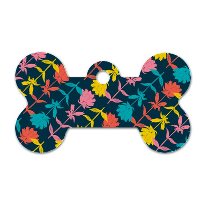 Colorful Floral Pattern Dog Tag Bone (Two Sides)