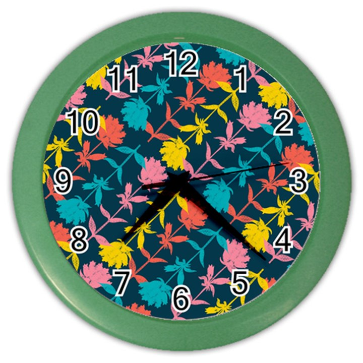 Colorful Floral Pattern Color Wall Clocks