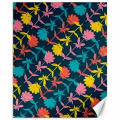 Colorful Floral Pattern Canvas 11  x 14