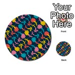 Colorful Floral Pattern Multi-purpose Cards (Round)  Back 37