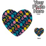 Colorful Floral Pattern Multi-purpose Cards (Heart)  Back 1
