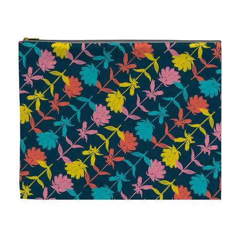 Colorful Floral Pattern Cosmetic Bag (XL)