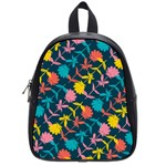 Colorful Floral Pattern School Bags (Small)  Front