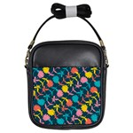 Colorful Floral Pattern Girls Sling Bags Front