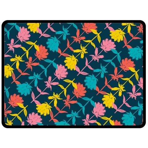 Colorful Floral Pattern Fleece Blanket (Large)
