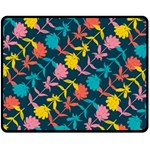 Colorful Floral Pattern Fleece Blanket (Medium)  60 x50 Blanket Front