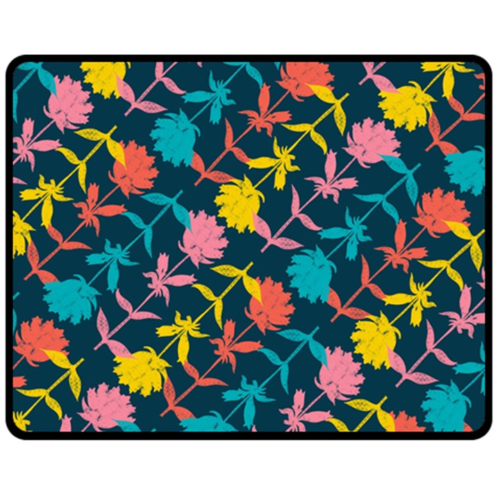Colorful Floral Pattern Fleece Blanket (Medium)