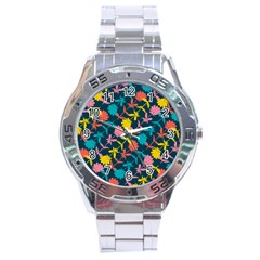 Colorful Floral Pattern Stainless Steel Analogue Watch