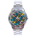 Colorful Floral Pattern Stainless Steel Analogue Watch Front