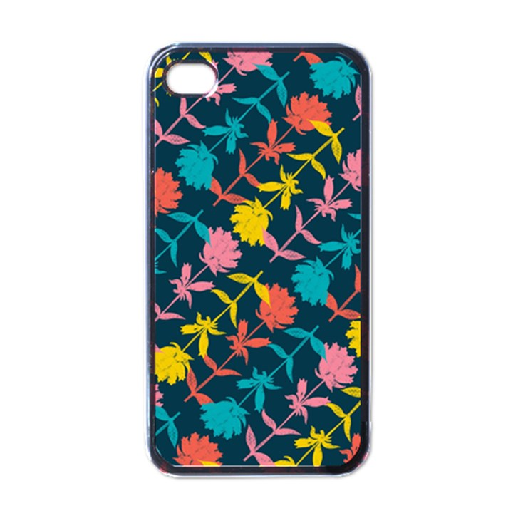 Colorful Floral Pattern Apple iPhone 4 Case (Black)