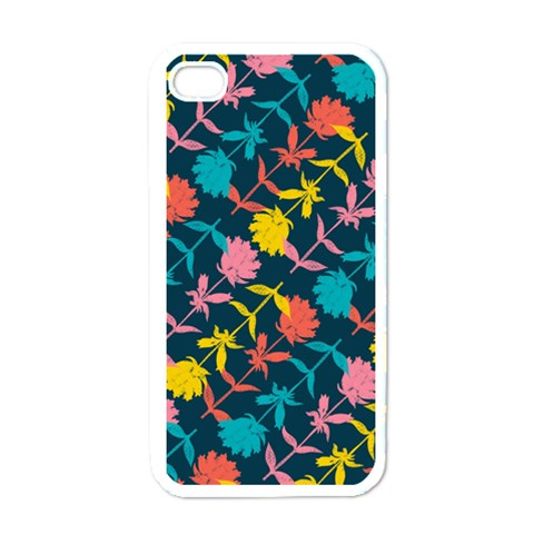 Colorful Floral Pattern Apple iPhone 4 Case (White)