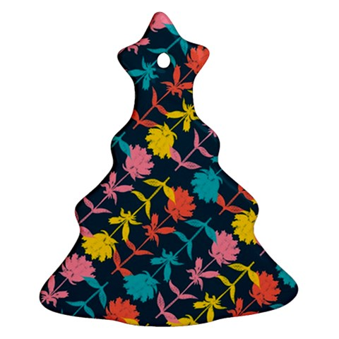 Colorful Floral Pattern Christmas Tree Ornament (2 Sides)
