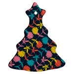 Colorful Floral Pattern Christmas Tree Ornament (2 Sides) Front
