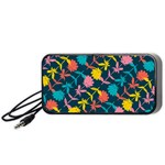 Colorful Floral Pattern Portable Speaker (Black)  Front