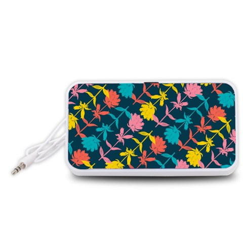 Colorful Floral Pattern Portable Speaker (White)