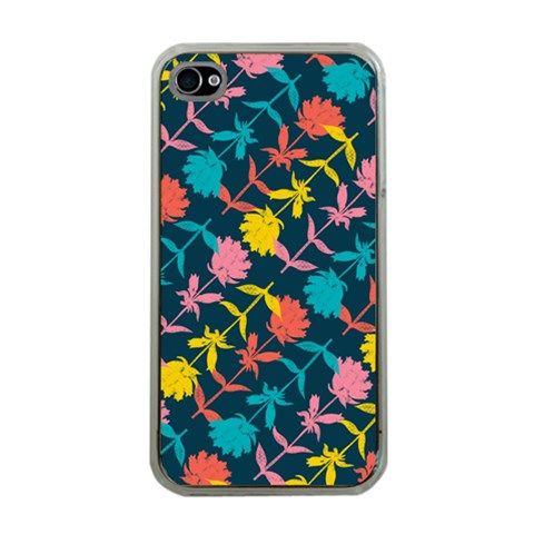 Colorful Floral Pattern Apple iPhone 4 Case (Clear)
